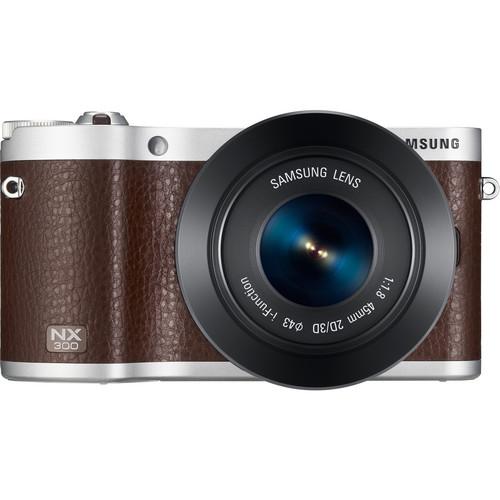Samsung NX300 Mirrorless Digital Camera with 45mm f/1.8 2D/3D Lens (Brown)