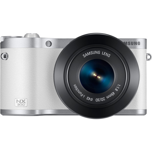 Samsung NX300 Mirrorless Digital Camera with 45mm f/1.8 2D/3D Lens (White)