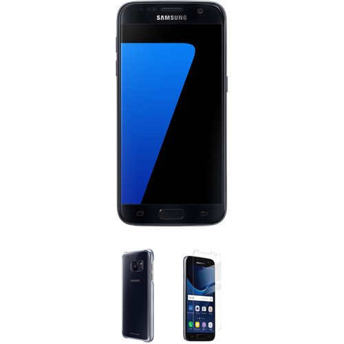 Samsung Galaxy S7 32GB Smartphone with Clear Black Protective Cover Kit (Unlocked, Black)