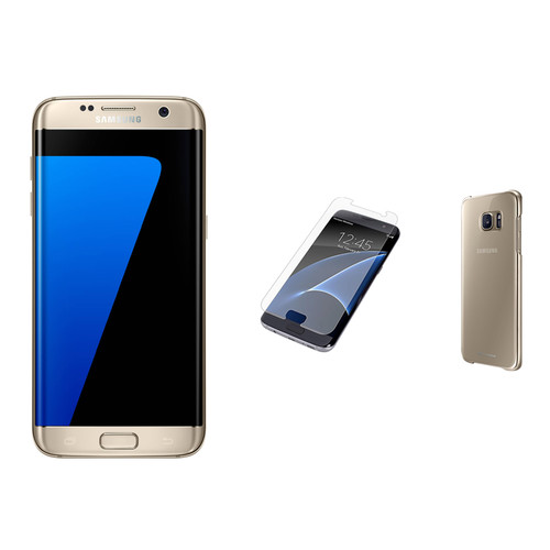 Samsung Galaxy S7 edge 32GB Smartphone with Clear Gold Protective Cover Kit (Unlocked, Gold)