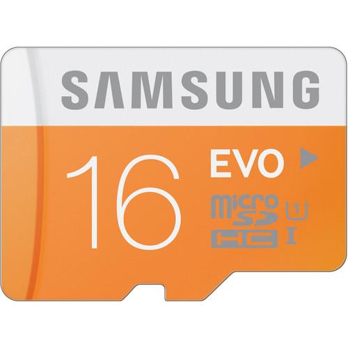 Samsung 16GB EVO UHS-I microSDHC U1 Memory Card (Class 10) with SD Adapter
