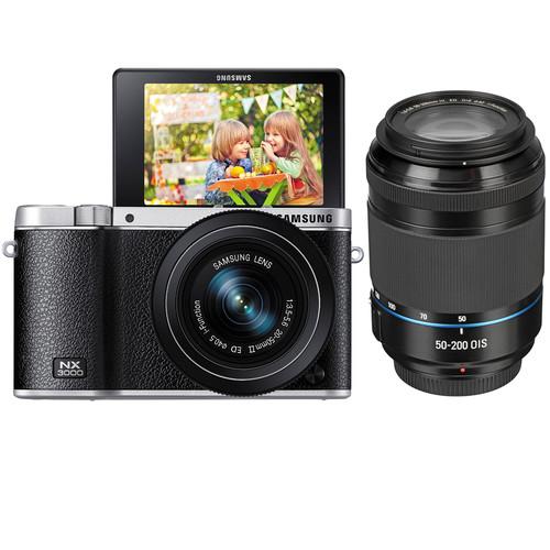 Samsung NX3000 Mirrorless Digital Camera with 20-50mm and 50-200mm 2-Lens Kit (Black)