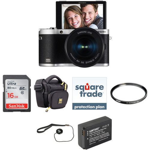 Samsung NX300M Mirrorless Digital Camera with 18-55mm Lens Deluxe Kit (Black)