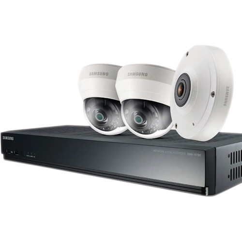 Samsung SRK-3030S 4-Channel 8MP NVR with 1TB HDD and 1 5MP Fisheye and 2 1080p Dome Cameras