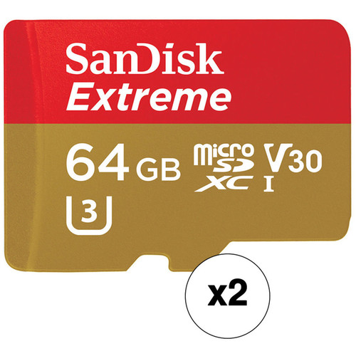 SanDisk 64GB Extreme UHS-I microSDXC Memory Card with SD Adapter (2-Pack)