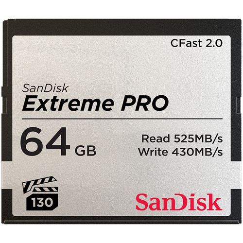 SanDisk 64GB Extreme PRO CFast 2.0 Memory Card (Canon and BlackMagic Cameras)