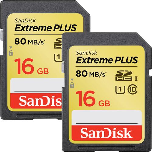 SanDisk 16GB Extreme UHS-I SDHC Memory Card (U3, 2-Pack)
