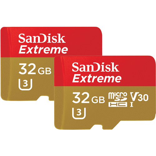 SanDisk 32GB Extreme UHS-I microSDHC Memory Card with SD Adapter (2-Pack)