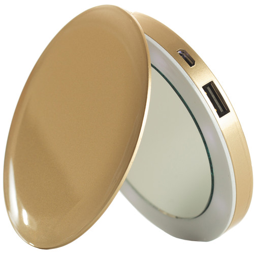 Sanho HyperJuice Pearl Compact Mirror with Rechargeable Battery Pack (Gold)