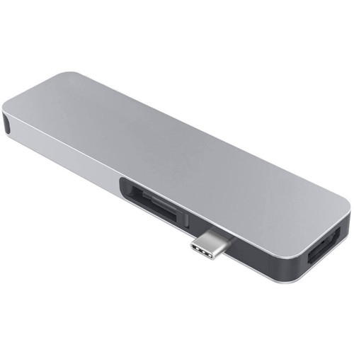 HYPER HyperDrive Solo 2-Port USB 3.1 Gen 1 Type-A Hub with HDMI, USB Type-C, microSD, SD, & 3.5mm Audio (Silver)