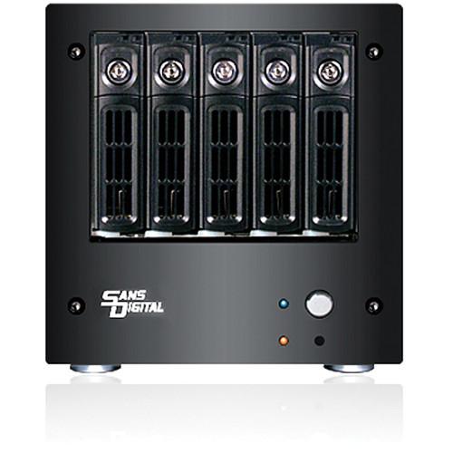 Sans Digital AN5L+B 5-Bay 64-Bit iSCSI and Dual Gigabit NAS Server (Black)