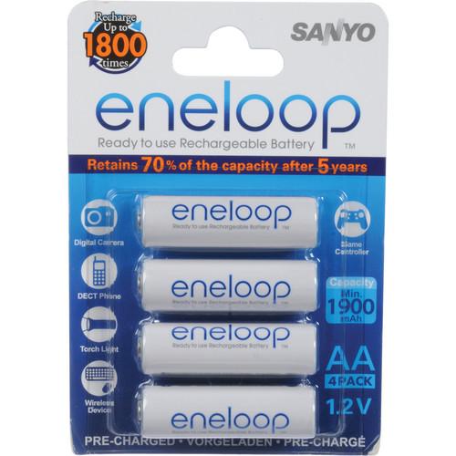 Sanyo Eneloop Rechargeable AA Ni-MH Batteries (4-Pack)