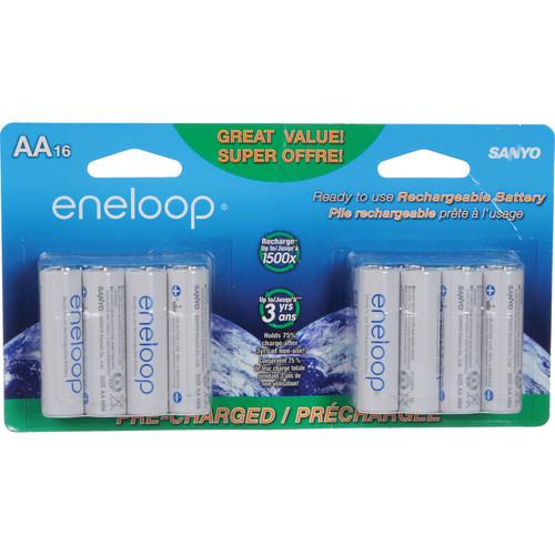 Sanyo Eneloop Rechargeable AA Ni-MH Batteries (16-Pack)