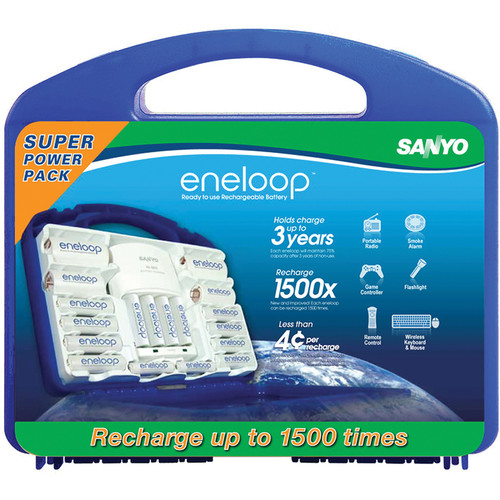 Sanyo eneloop 1500x Super Power Pack with AA and AAA NiMH Rechargeable Batteries, C and D Spacers, Charger