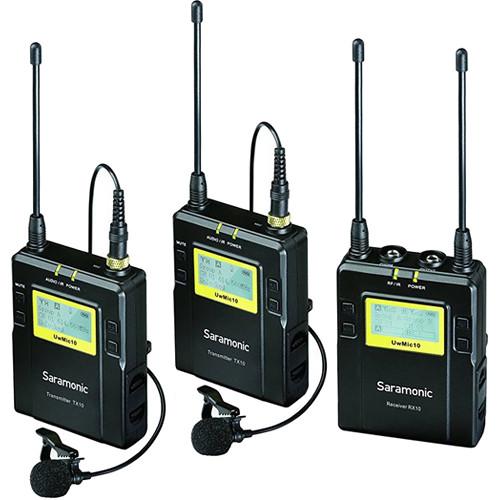 Saramonic RX10+TX10+TX10, 96-Channel Digital UHF Wireless Dual Lavalier Mic System (614 to 696 MHz)