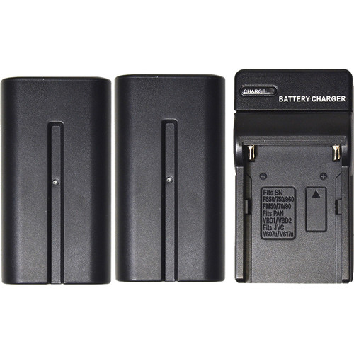 Savage 2-Pack of NP-F750 Lithium-Ion Batteries with Charger for LED Lights