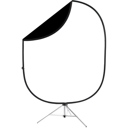 Savage Black/White Collapsible 6 x 7' Backdrop with 8' Stand