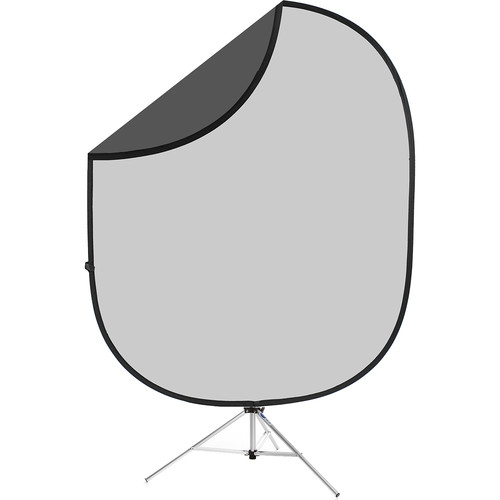 Savage Dark/Light Gray Collapsible 6 x 7' Backdrop with 8' Stand