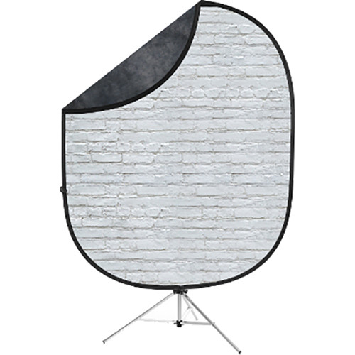 Savage Collapsible 5 x 7' Backdrop with 8' Stand Kit (White Brick/Dark Gray)