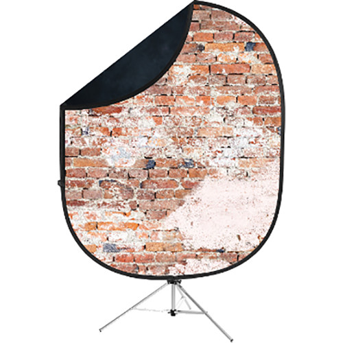Savage Collapsible 5 x 7' Backdrop with 8' Stand Kit (Black/Weathered Brick)