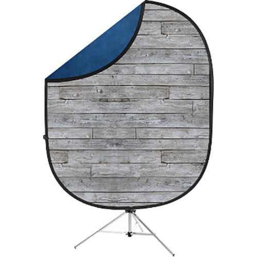 Savage Collapsible 5 x 7' Backdrop with 8' Stand Kit (Gray Pine/Blue)
