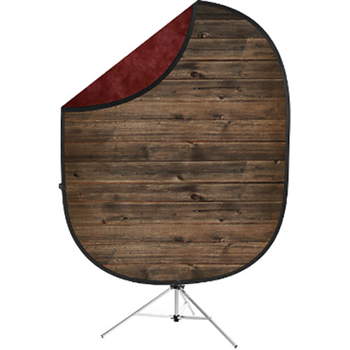 Savage Collapsible 5 x 7' Backdrop with 8' Stand Kit (Rustic Planks/Red)