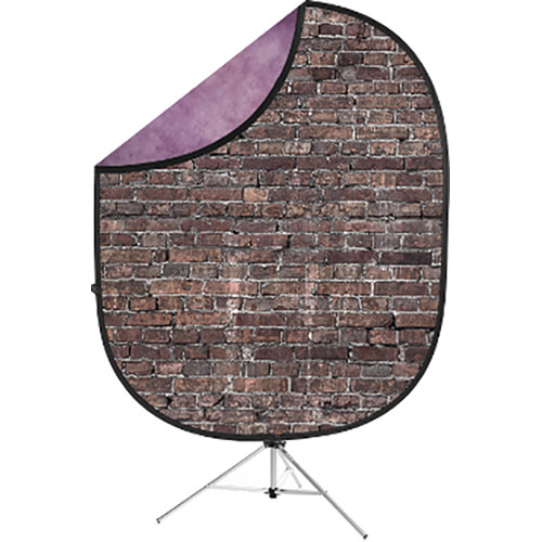 Savage Collapsible 5 x 7' Backdrop with 8' Stand Kit (Grunge Brick/Purple)