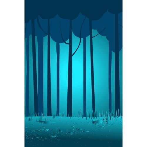 Savage Night Blue Woods Printed Vinyl Backdrop (5x7')