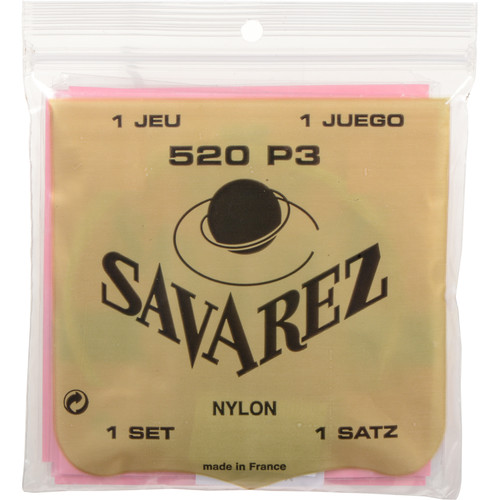 SAVAREZ 520P3 Traditional Series Classical Guitar Strings (6-String Set, Normal Tension)