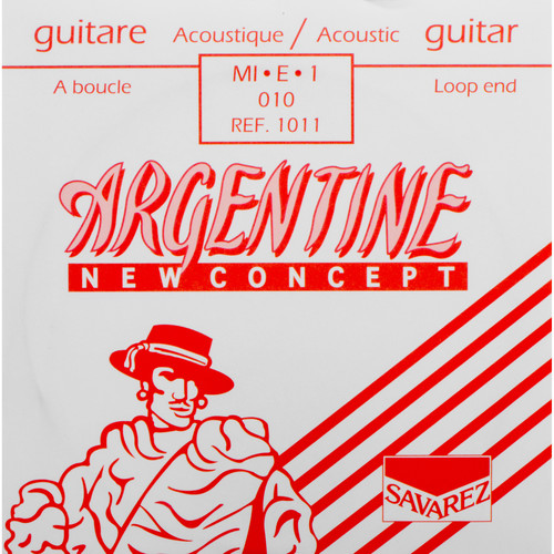 SAVAREZ 1011 Extra Light Tension Argentine Series Acoustic Guitar String (Single .010, Loop End)