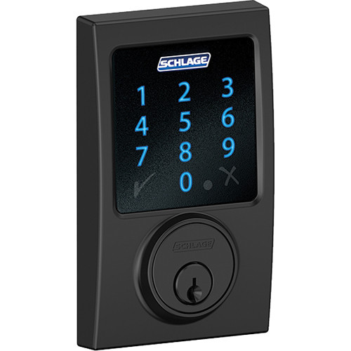 Schlage Connect Touchscreen Deadbolt with Century Trim (Matte Black Finish)