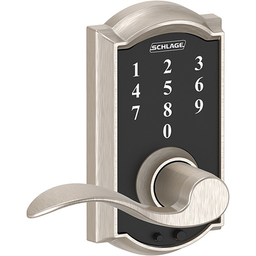 Schlage Keyless Touchscreen with Camelot Trim and Accent Lever Lock (Satin Nickel)