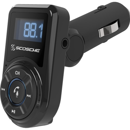 Scosche Bluetooth Hands-Free Car Kit with Digital FM Transmitter and 10-Watt USB Car Charger (Black)