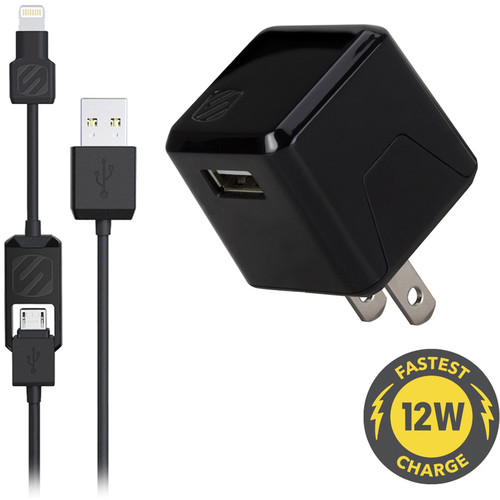 Scosche strikeBASE pro USB Wall Charger with Charge and Sync Cable (Black)