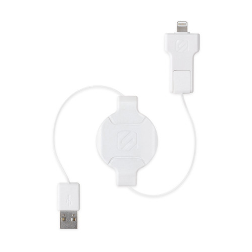Scosche 3' SmartSTRIKE Pro Retractable Charge/Sync Cable for Lightning and Micro-USB (White)