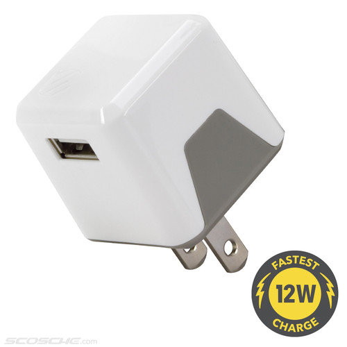 Scosche superCUBE flip 12 Watt USB Wall Charger (White)