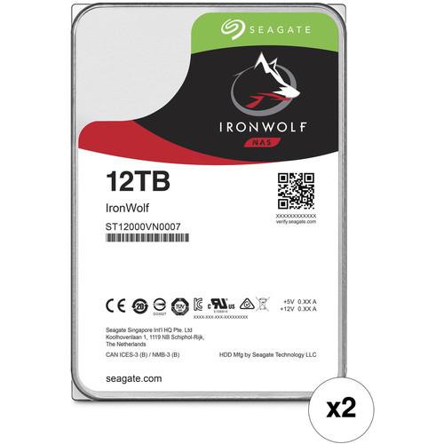 "Seagate 12TB IronWolf 7200 rpm SATA III 3.5"" Internal NAS HDD Kit (2-Pack)"