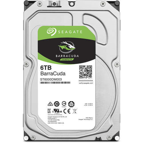 "Seagate 6TB BarraCuda 5400 rpm SATA III 3.5"" Internal HDD (Retail)"