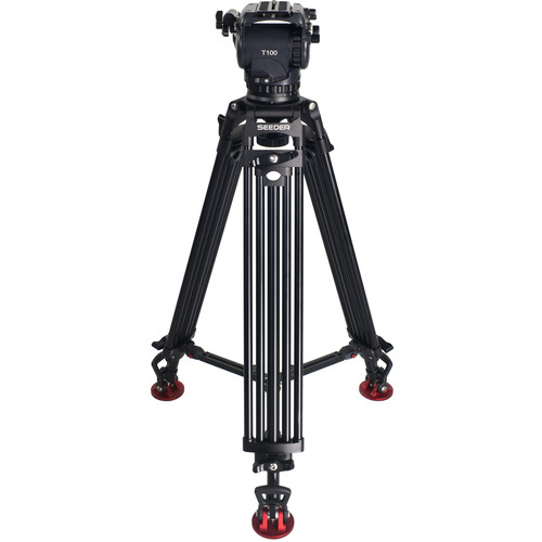SEEDER T100A2 T100 Fluid Head with Two-Stage Aluminum Tripod System with Mid-Level Spreader