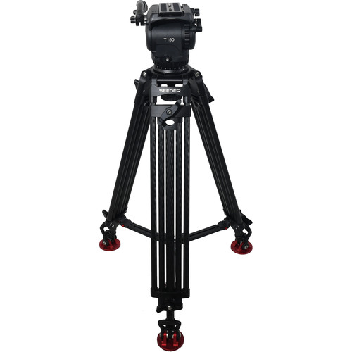 SEEDER T150C2 T150 Fluid Head with Two-Stage Carbon Fiber Tripod System with Mid-Level Spreader