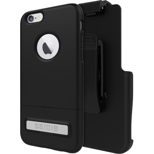 Seidio SURFACE Case with Kickstand and Holster for iPhone 6/6s (Black/Black)