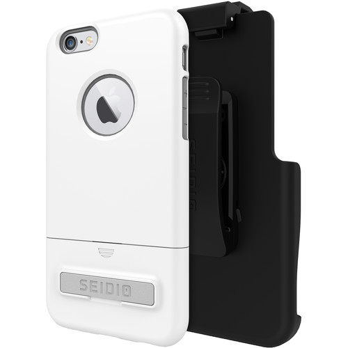 Seidio SURFACE Case with Kickstand and Holster for iPhone 6/6s (Glossed White/Gray)
