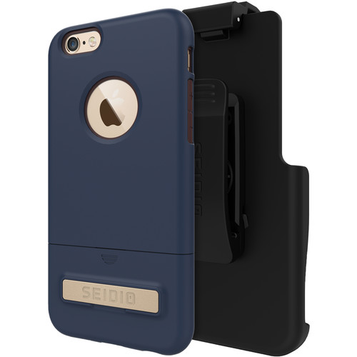 Seidio SURFACE Case with Kickstand for iPhone 6/6s and Holster (Midnight Blue/Chocolate Brown)