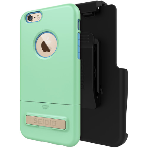 Seidio SURFACE Case with Kickstand and Holster for iPhone 6/6s (Mint/Blue)