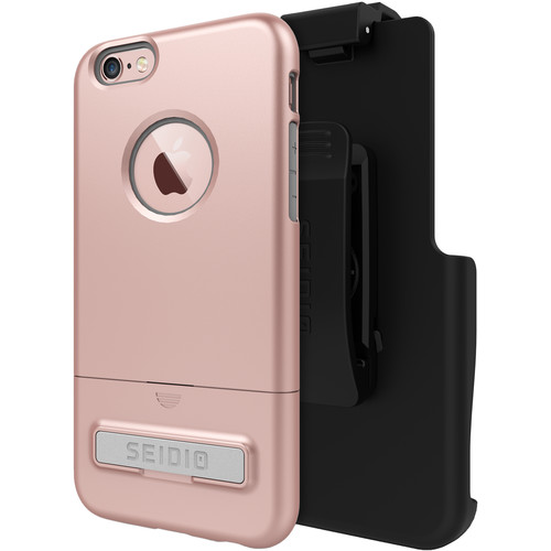 Seidio SURFACE Case with Kickstand for iPhone 6/6s and Holster (Rose Gold/Gray)