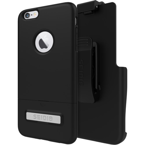 Seidio SURFACE Case with Kickstand for iPhone 6 Plus/6s Plus and Holster (Black/Black)