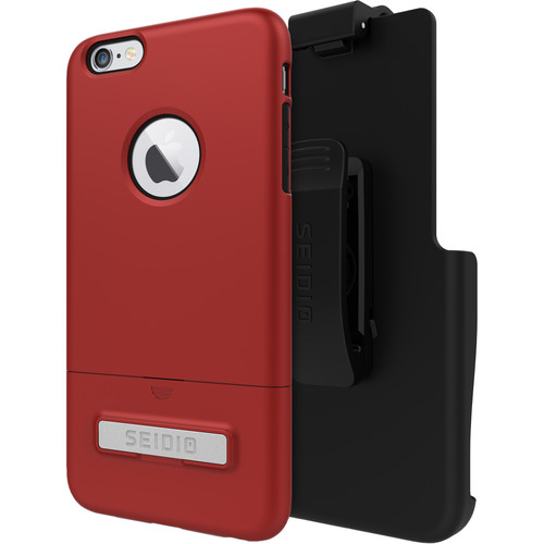 Seidio SURFACE Case with Kickstand and Holster for iPhone 6 Plus/6s Plus (Dark Red/Black)