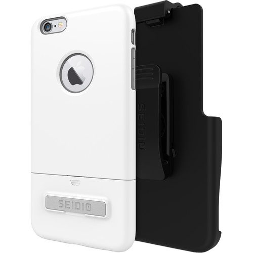 Seidio SURFACE Case with Kickstand for iPhone 6 Plus/6s Plus and Holster (Glossed White/Gray)