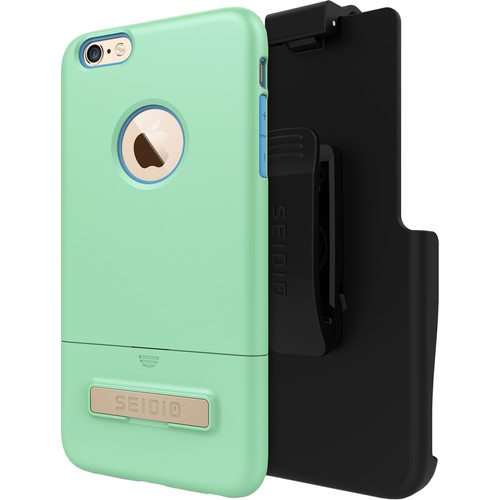 Seidio SURFACE Case with Kickstand for iPhone 6 Plus/6s Plus and Holster (Mint/Blue)