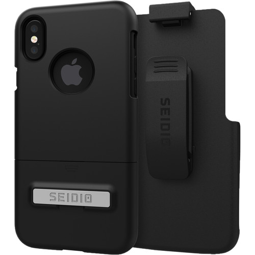 Seidio SURFACE Case with Kickstand and Holster for iPhone X (Black/Black)